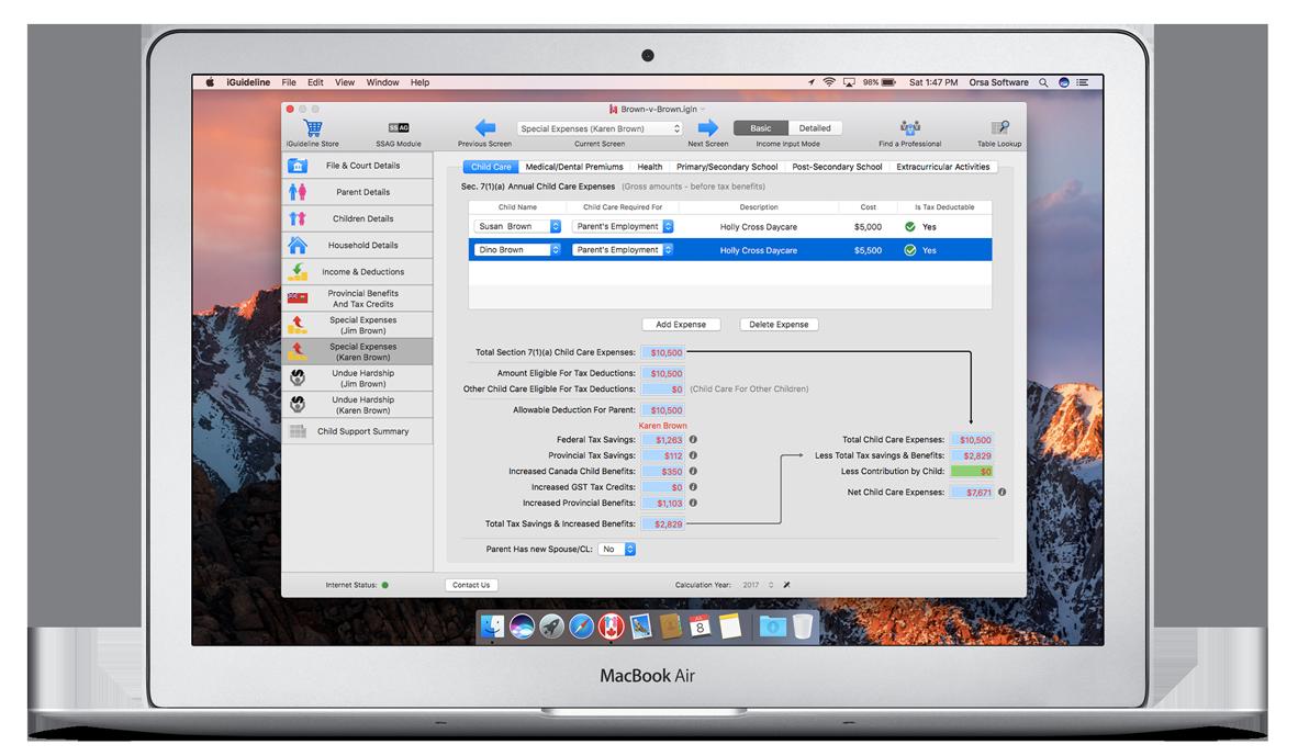 MacBook Air running iGuideline - Canadian Child Support Calculator