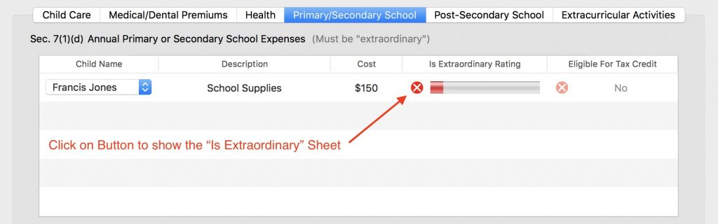 Image of Primary and Secondary School Expenses Table in iGuideline