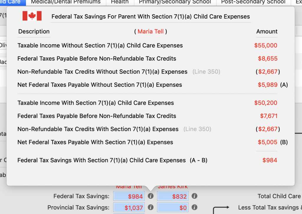 Federal Tax Savings Details for Marie With a New Spouse / Common Law