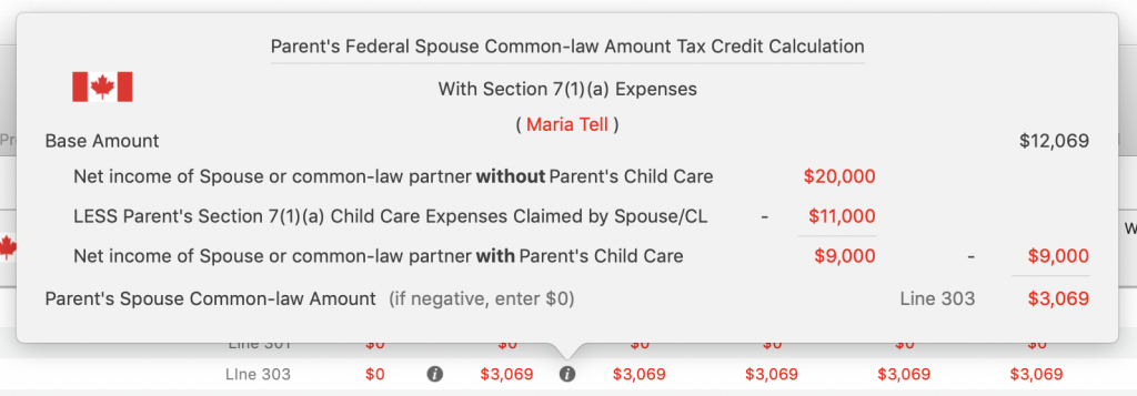 Maria's Line 303 Spouse / common law Tax Credit Amount With Child Care