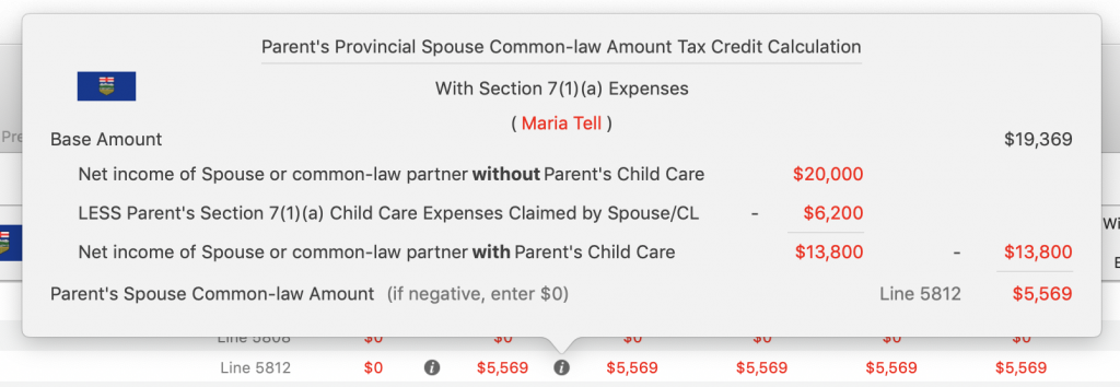 Maria's Line 5812 Spouse / common law Tax Credit Amount Without Child Care