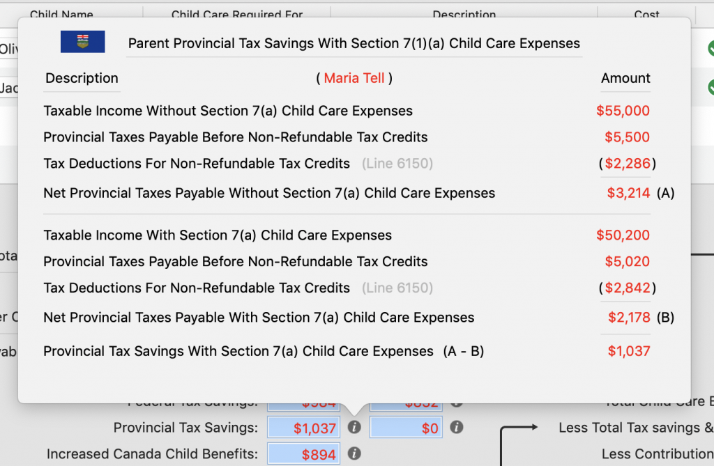 Provincial Tax Savings Details for Marie With a New Spouse / Common Law